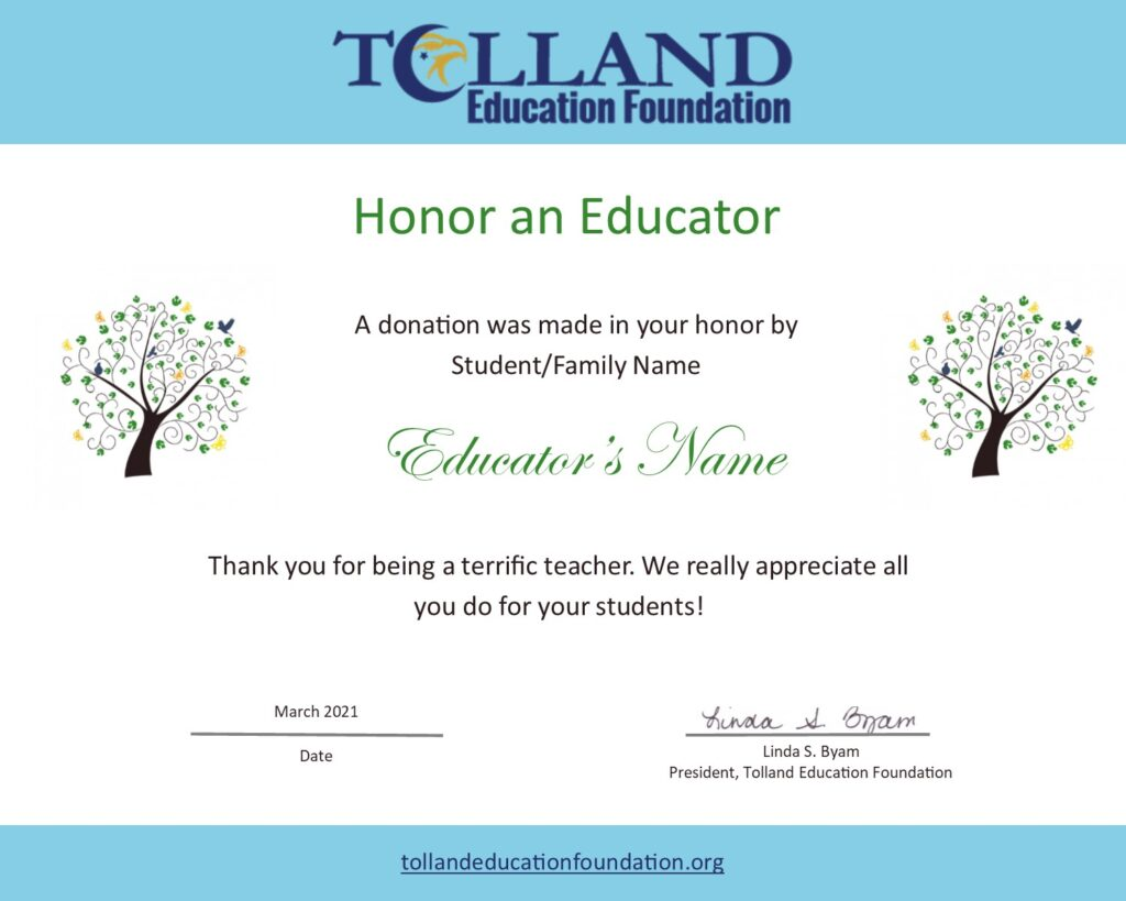 Image of Honor an Educator sample certificate